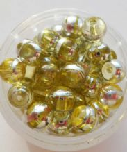 Glass Drawbench Beads 6mm. Yellow x 20.
